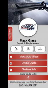 business card maxx glass
